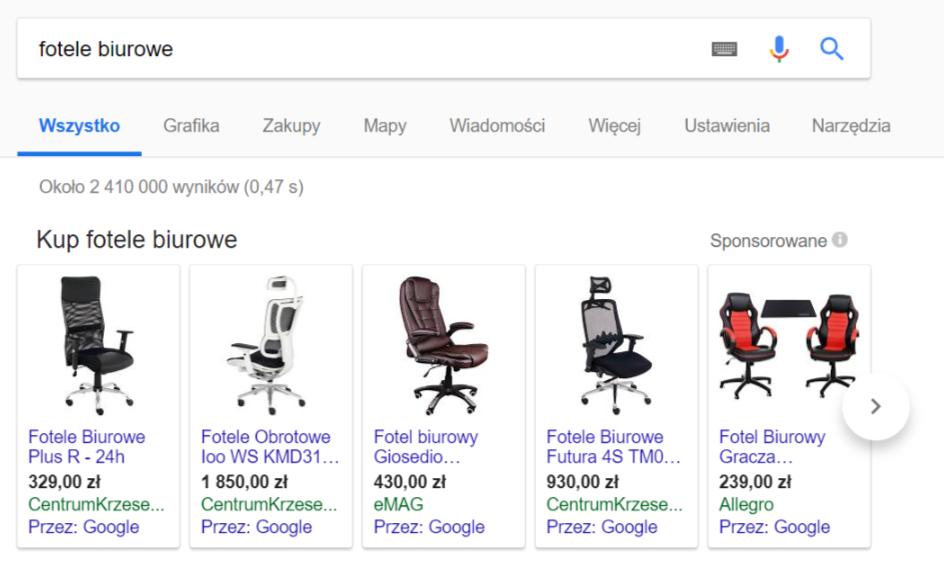 PLA w wyszukiwarce - przykład