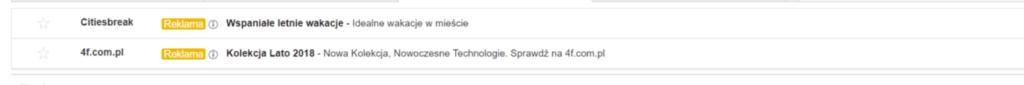 Gmail Ads przykład